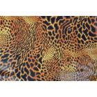 Leopárd lakkos laminált táncruha anyag, fogás és színminta 30x30 cm
