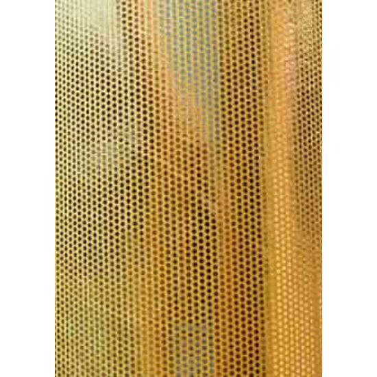 Arany pöttyös metál laminált táncruha anyag, fogás és színminta 30x30 cm