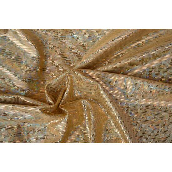 Arany-arany hologrammos táncruha anyag, fogás és színminta 30x30 cm