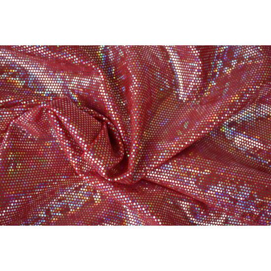 Carminio hologrammos táncruha anyag, fogás és színminta 30x30 cm