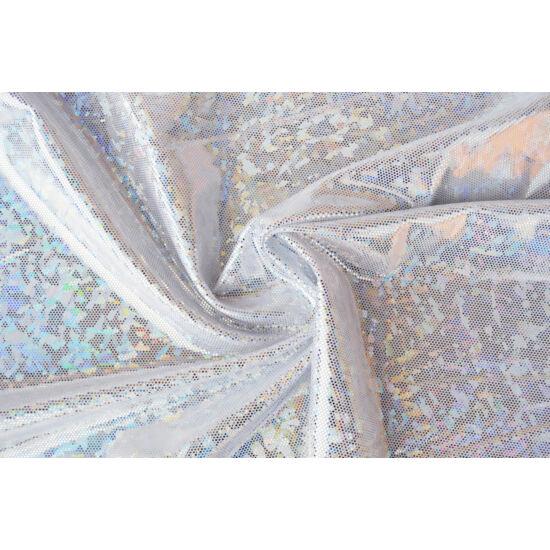 Fehér hologrammos táncruha anyag, fogás és színminta 30x30 cm