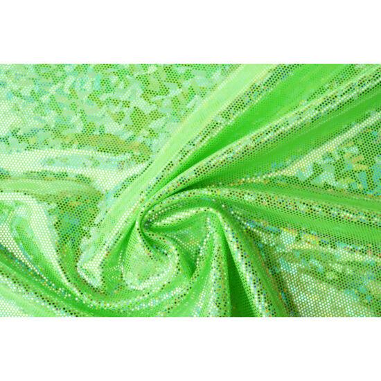 Verde fluo hologrammos táncruha anyag, fogás és színminta 30x30 cm