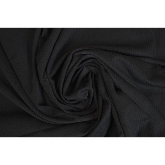 Fekete lyukacsos fitneszruha anyag, fogás és színminta 30x30 cm