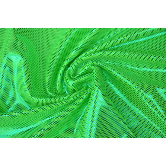 Verde fluo pöttyös színes metál laminált táncruha anyag