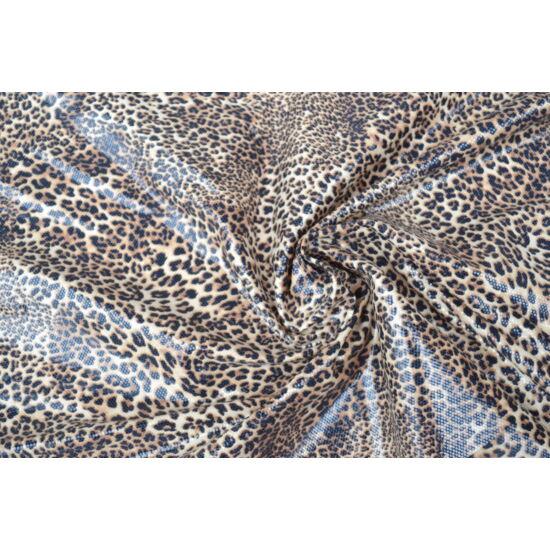 Ocelot lakkos laminált táncruha anyag, fogás és színminta 30x30 cm