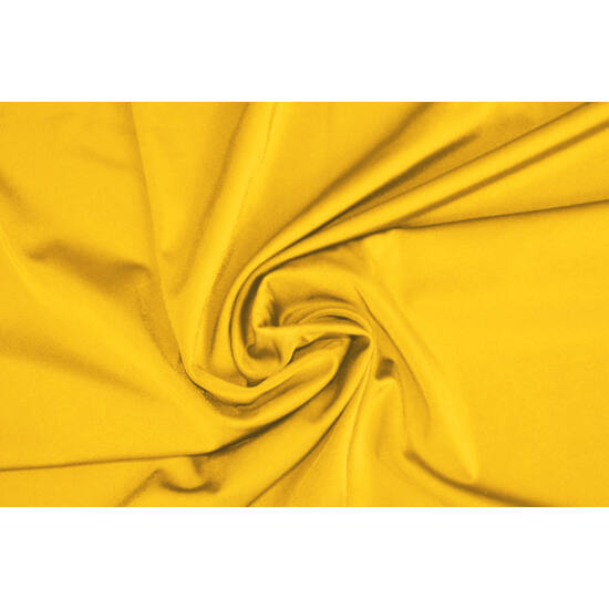 Napsárga poliamid elasztán fürdőruha anyag, fényes, 170 gr, fogás és színminta 30x30 cm