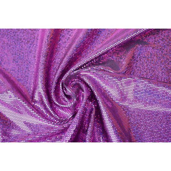 Fekete alapon lila hologrammos táncruha anyag, fogás és színminta 30x30 cm