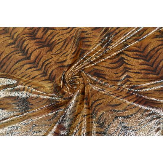 Tigris arany laminált táncruha anyag