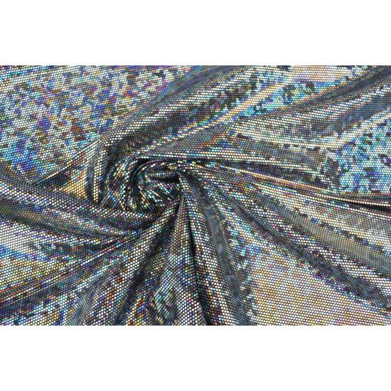 Fekete-ezüst hologrammos táncruha anyag, fogás és színminta 30x30 cm